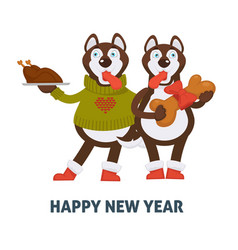 happy new year 2018 dogs cartoon with christmas vector image