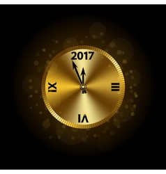 Happy New Year background gold clock vector image