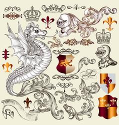 heraldic set elements in vintage style vector image