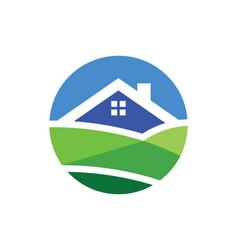 Home nature landscape logo vector