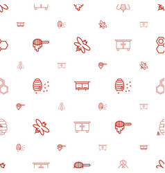 Honey icons pattern seamless white background vector