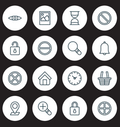 Icons set collection of safeguard glance unlock vector