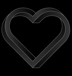 Impossible twisted heart icon vector