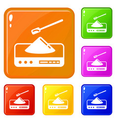 Lab scales icons set color vector