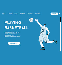 landing page playing basketball concept vector image