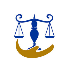 Law justice firm hand balance logo design icon vector