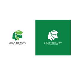 leaf beauty logo design template vector image