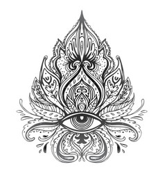 lotus eye sacred geometry ayurveda symbol of vector image
