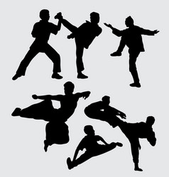 martial art fighting people silhouette vector image