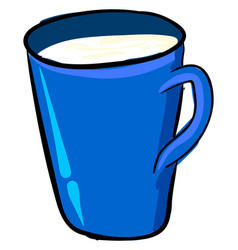 milk in blue cup on white background vector image