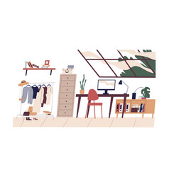 Modern home interior with wardrobe and workplace vector