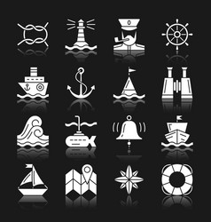 Nautical white silhouette reflection icon set vector