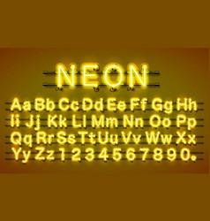 Neon city color yellow font english alphabet vector