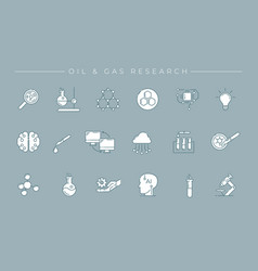 Oil and gas research concept line style vector