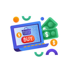 online shopping symbols money and laptop computer vector image