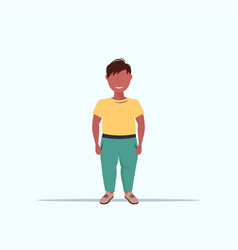 overweight smiling boy over size child standing vector image