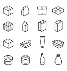 Packaging outline icons vector