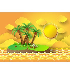 palm with island and sunrise vector image