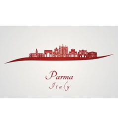 Parma skyline in red vector image