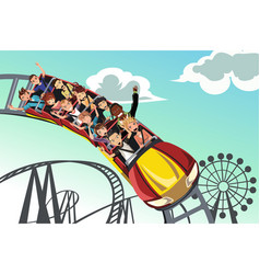 People riding roller coaster vector