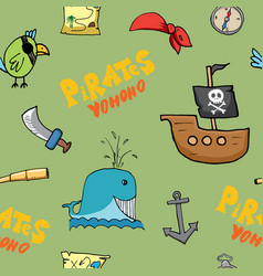 pirate doodles seamless pattern cute pirate items vector image