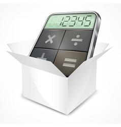 Pocket calculator in box vector image