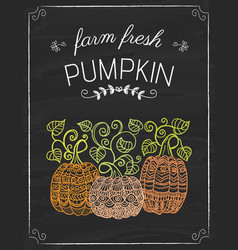 Pumkins doodle on the black board vector