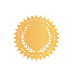 round gold certificate logotype with laurel wreath vector image
