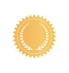 Round gold certificate logotype with laurel wreath vector
