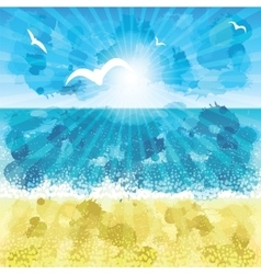 Sand beach sunset time vector image