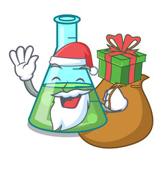 Santa with gift science beaker mascot cartoon vector