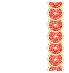 Seamless decorative vertical border of grapefruit vector