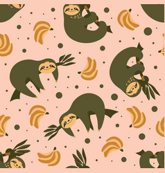 Seamless pattern with cute sloths and bananas vector