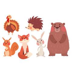 Set cute wild animals vector