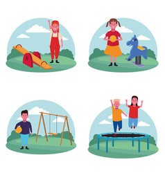 set of children at the playground vector image