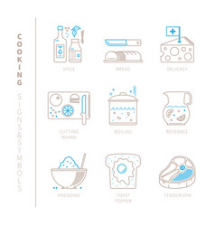Set of cooking icons and concepts in mono thin vector