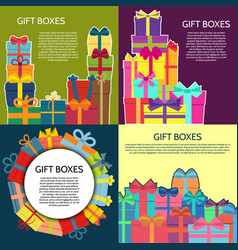 set of four backgrounds with a colorful gift boxes vector image
