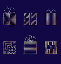 Set of minimalistic linear gift boxes vector