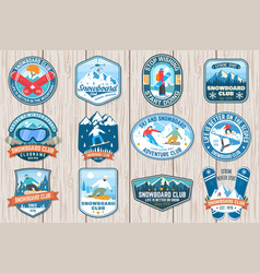 Set of snowboard club patches concept for vector