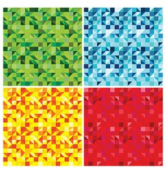 set of triangle abstract seamless patterns - vector image vector image