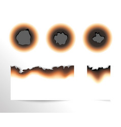 set scorched piece paper and burnt holes on vector image