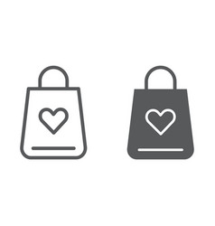 shopping bag line and glyph icon love and gift vector image