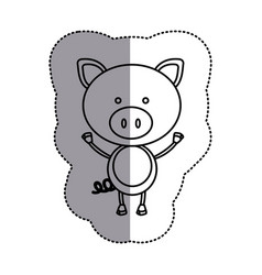 Silhouette teddy pig icon vector