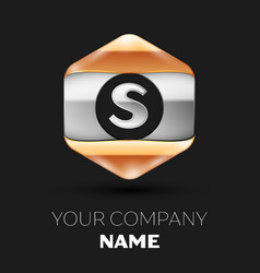 Silver letter s logo in silver-golden hexagonal vector