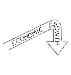 Sketchy cartoon graph arrow global economic vector