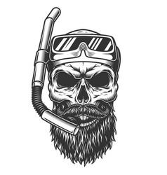 skull in diving mask vector image