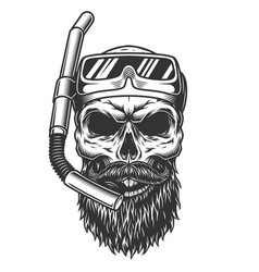Skull in the diving mask vector