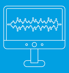 Sound waves on a computer monitor icon vector