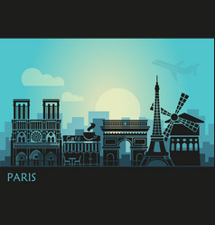 stylized landscape paris with eiffel tower arc vector image