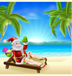 Summer christmas santa beach scene vector